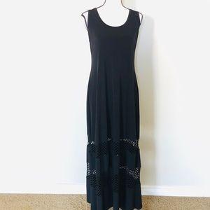 Calvin Klein ITY blk sleeveless maxi dress sz10